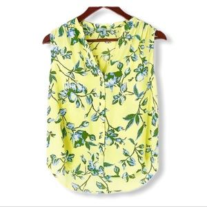 🌼Joie yellow floral sleeveless blouse